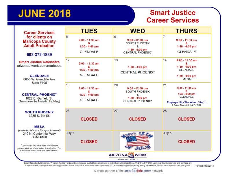 Maricopa County Smart Justice June 2018 Calendar