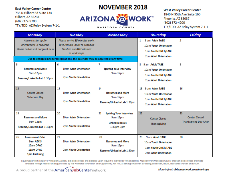 Maricopa County Center Calendar November 2018