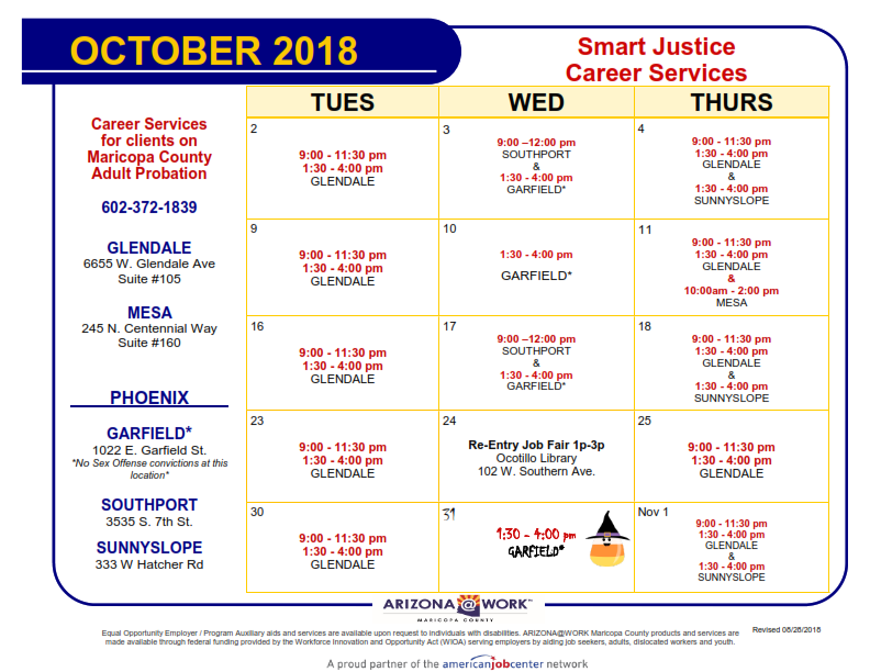 Maricopa County Smart Justice Calendar October 2018